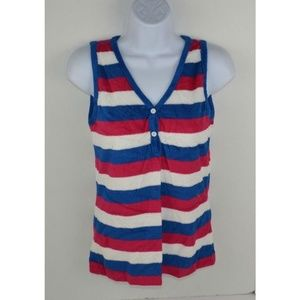 Vtg 1980's Terry Cloth Striped Sleeveless Top